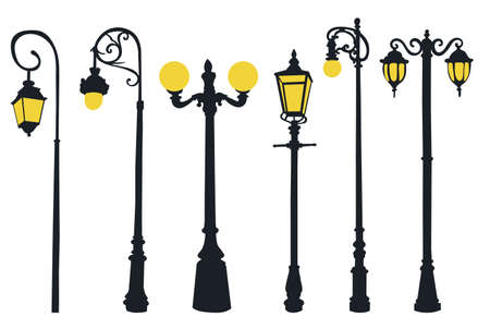 set of street lamp post in flat style, isolated, vector