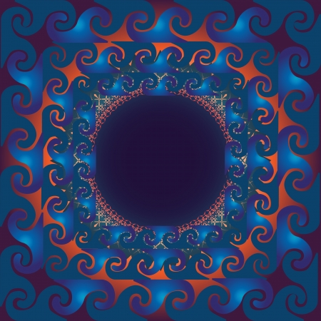 Spiral figures in blue and orange backgrounds will