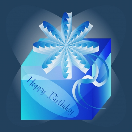 Gift box with a blue background Vector