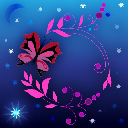 Floral design and a blue background with stars Vector