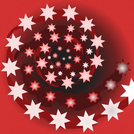starlike: illustration red background
