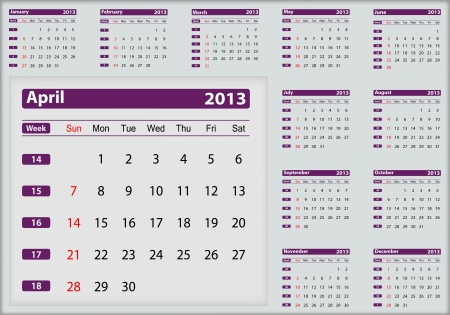 April 2013 calendar highlighting Vector