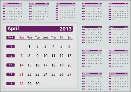 April 2013 calendar highlighting Stock Vector - 16032913