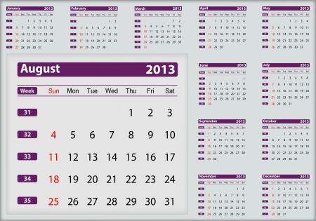 August 2013 calendar highlighting Vector