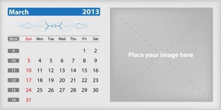Calendar 2013 march Illustration