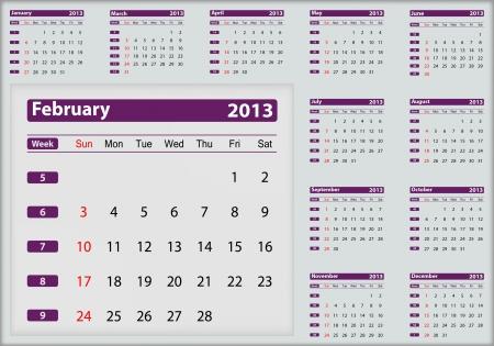 February 2013 calendar highlighting Stock Vector - 16032952