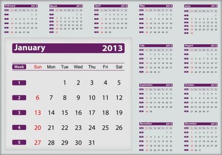 January 2013 calendar highlighting