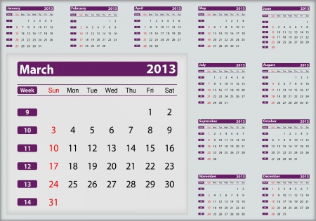 March 2013 calendar highlighting Vector