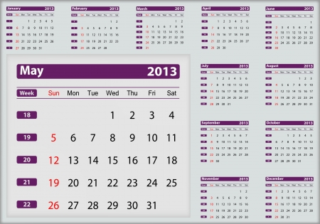 May 2013 calendar highlighting Stock Vector - 16032929