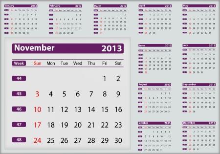 November 2013 calendar highlighting