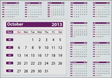 October 2013 calendar highlighting Stock Vector - 16032948