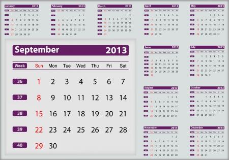 September 2013 calendar highlighting Illustration