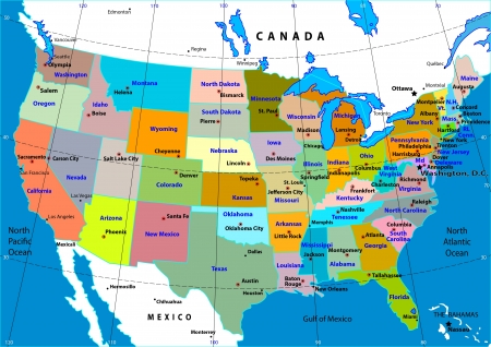 map of the united states: Colorful USA map with states, and capital cities Illustration