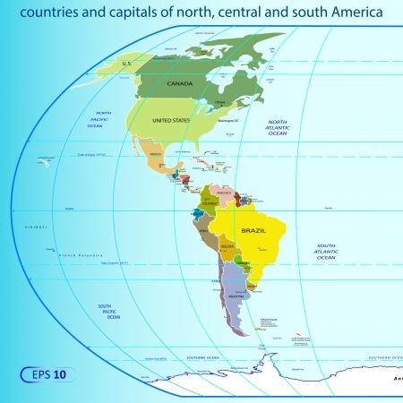 central: Noord-, Midden-en Zuid-Amerika. Stock Illustratie