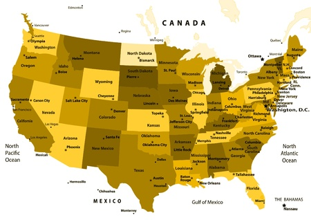 Colorful USA Map With States And Capital Cities Royalty Free - Capital cities usa map