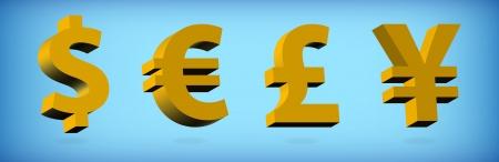 Dollar, Euro, Pound, Yen  Vector illustration Vector