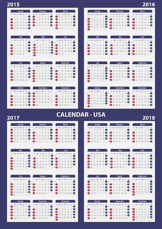 Calendar 2015 - 2016 - 2017 - 2018. EPS 10 vector Vector
