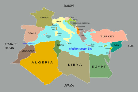 Countries surrounding the Mediterranean Sea. EPS 10 vector Vector
