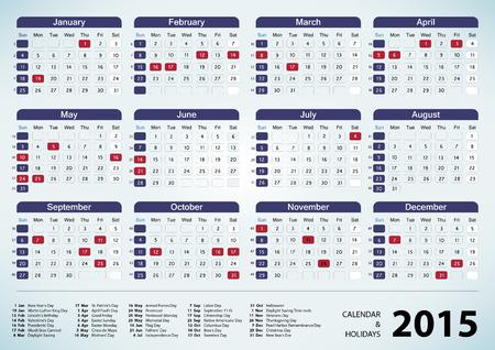 Calendar & Holidays - USA 2015. EPS 10 vector Illustration