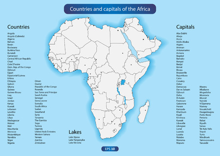 Countries and capitals of the Africa. EPS 10 vector
