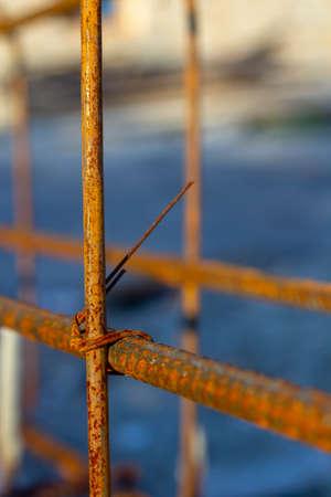 Reinforcement frame for foundation close-up. 版權商用圖片