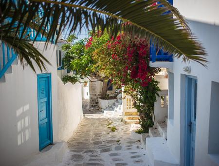 Typical greek streetview, Mykonos, Greece 版權商用圖片