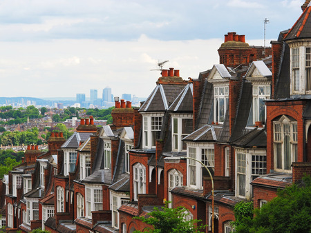 Panorama of London from Muswell Hill with brick houses, London, UK Redakční