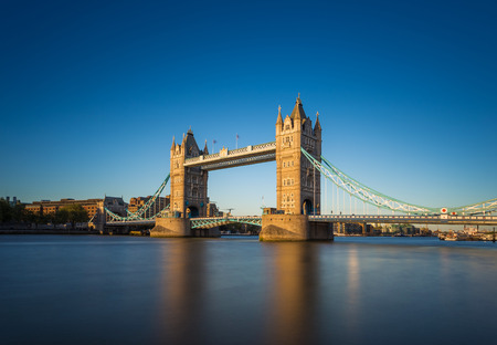 london skyline: The iconic Tower Bridge at sunset with clear blue sky London UK
