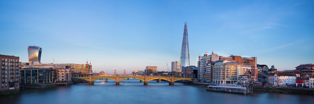 london skyline: Panoramic view of London Shard Tower Bridge and Globe theatre Editorial