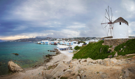 Mykonos town and famous windmill on a cloudy day, Greece Reklamní fotografie