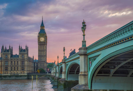 Westminster Bridge with the Big Ben at sunset, London, UK