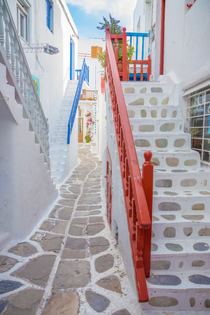 mykonos: Streetview with stairs of Mykonos town, Greece