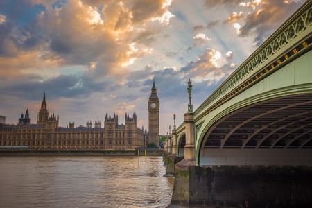 Big Ben, Parliament and Westminster bridge with beautiful sky, London, UK 版權商用圖片
