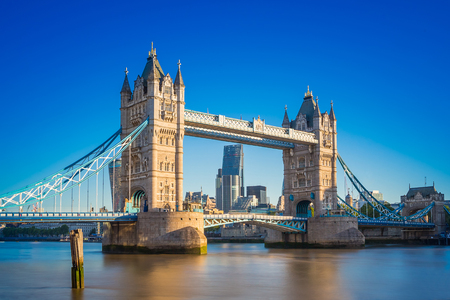 Tower bridge at sunrise with clear blue sky, London, UK