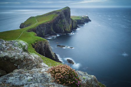 island: Neist point lighthouse on a cloudy day, Isle of Skye, Scotland, UK