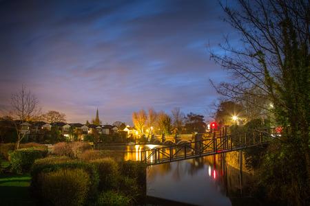 Weybridge area at night, London, UK
