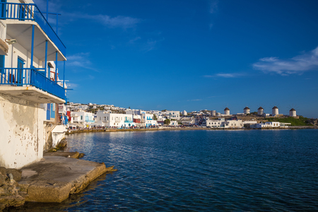 mykonos: Mykonos town panoramic view with clear blue sky, Greece