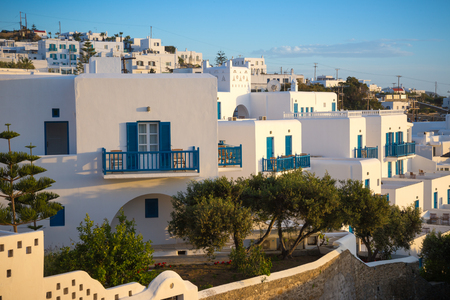 town houses: Greek white houses in sunset at Mykonos town, Mykonos, Greece Stock Photo