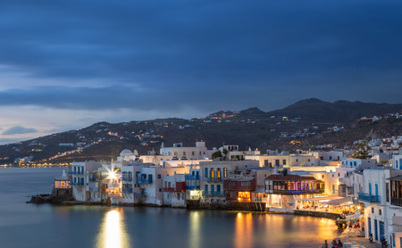 Little Venice of Mykonos town at blue hour, Greece Stock Photo