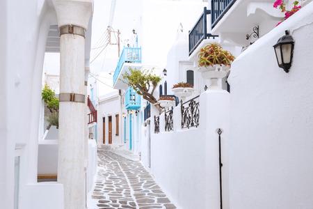 romance sky: Streetview of Mykonos town, Greece