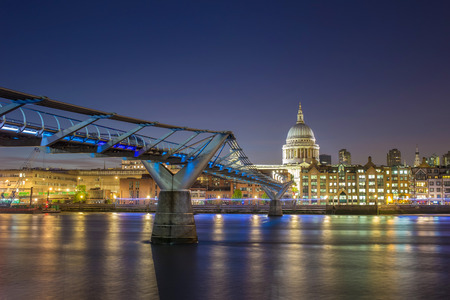 St Pauls Cathedral and the Millennium Bridge by night, London, UK