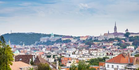 halaszbastya: The Citadella, the Castle of Buda and the Matthias Church  Fishermans Bastion in one photo by daylight - Budapest, Hungary
