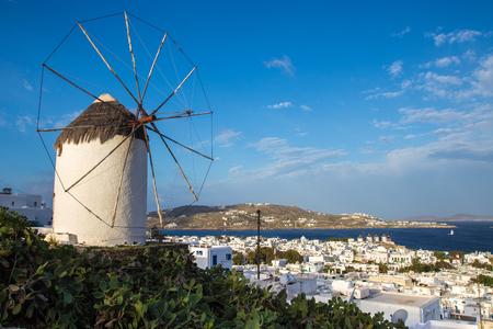 Mykonos skyline with famous Windmill, Greece