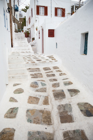 Traditional alley at Mykonos town, Greece