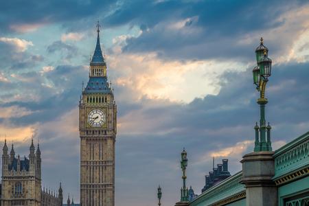 The Big Ben with beautiful sky after sunset, London, UK
