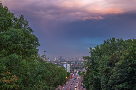 Skyline of central London with storm clouds from Holloway Bridge, UK 新聞圖片
