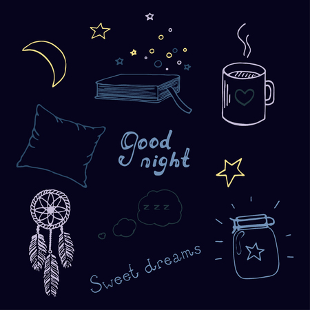 Hand drawn color good night doodle set isolated on dark background.
