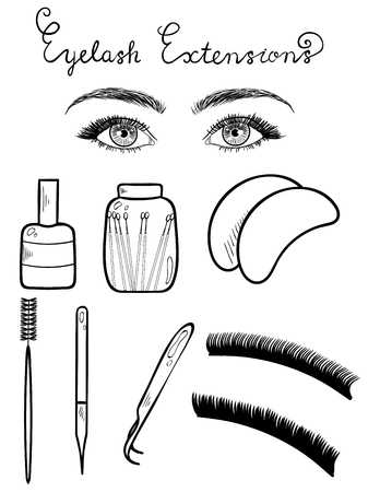 Sketched vector eyes with long lashes and equipment for eyelash extensions isolated on white background.