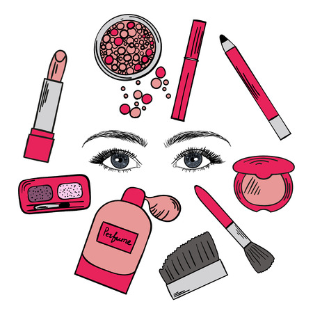 Set of hand drawn color cosmetics elements with beautiful eyes isolated on white background.