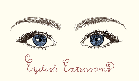 Sketched vector eyes with long lashes isolated on white background. Eyelash extensions. Illustration